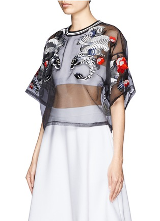 Front View - Click To Enlarge - 3.1 PHILLIP LIM - Tattoo embroidery organza top