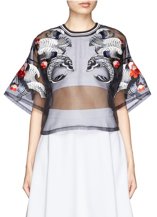 Main View - Click To Enlarge - 3.1 PHILLIP LIM - Tattoo embroidery organza top