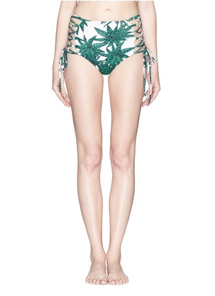 Main View - Click To Enlarge - Mara Hoffman - 'Harvest' reversible lace up high waist bikini bottoms