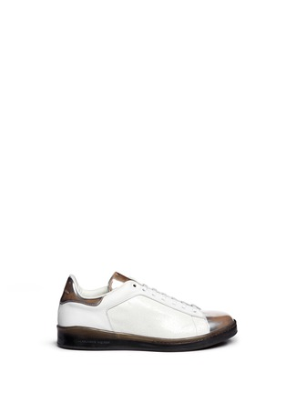 Main View - Click To Enlarge - Alexander McQueen - Mirror trim cracked leather sneakers
