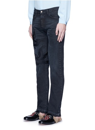 Front View - Click To Enlarge - Gucci - Bird embroidery slim fit jeans
