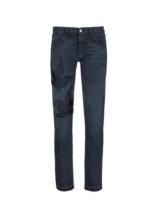Main View - Click To Enlarge - Gucci - Bird embroidery slim fit jeans