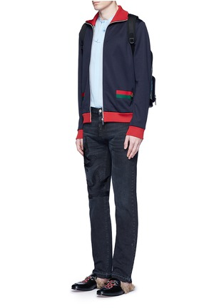 Figure View - Click To Enlarge - Gucci - Bird embroidery slim fit jeans