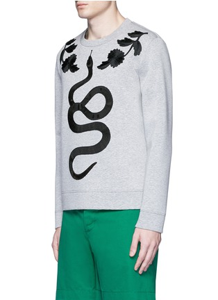 Front View - Click To Enlarge - Gucci - Floral and snake embroidery sweatshirt