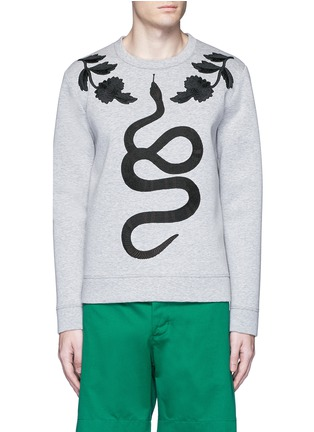 Main View - Click To Enlarge - Gucci - Floral and snake embroidery sweatshirt
