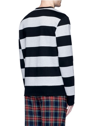 Back View - Click To Enlarge - Gucci - Bird embroidery rugby stripe sweatshirt