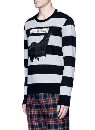 Front View - Click To Enlarge - Gucci - Bird embroidery rugby stripe sweatshirt