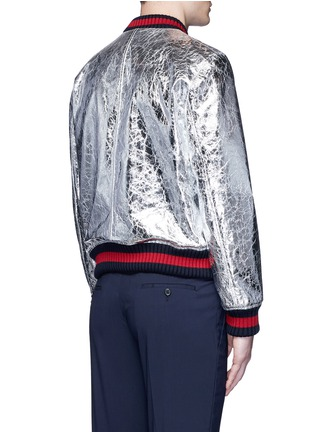 Back View - Click To Enlarge - Gucci - Foiled leather bomber jacket