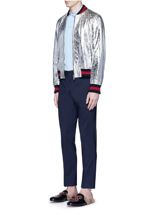 Figure View - Click To Enlarge - Gucci - Foiled leather bomber jacket