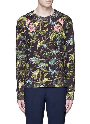 Main View - Click To Enlarge - Gucci - Floral embroidery tropical print sweatshirt