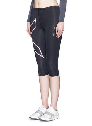 Front View - Click To Enlarge - 2Xu - '3/4 Compression' logo print performance tights