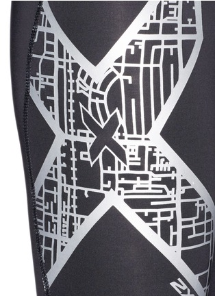 Detail View - Click To Enlarge - 2Xu - 'Compression' metallic logo print performance tights