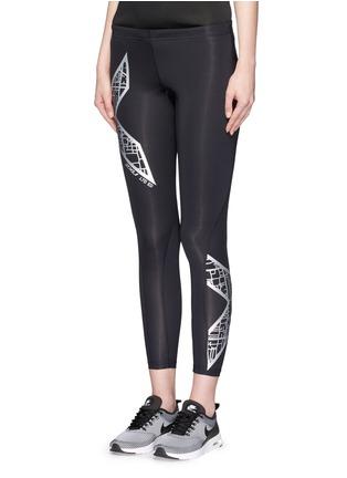 Front View - Click To Enlarge - 2Xu - 'Compression' metallic logo print performance tights