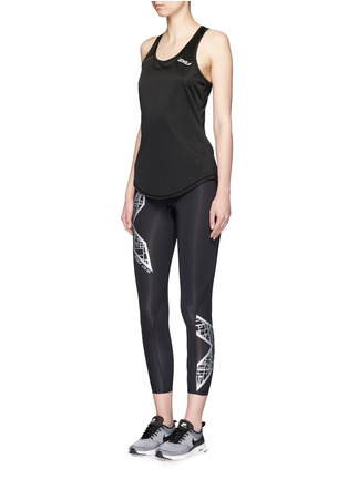 Figure View - Click To Enlarge - 2Xu - 'Compression' metallic logo print performance tights