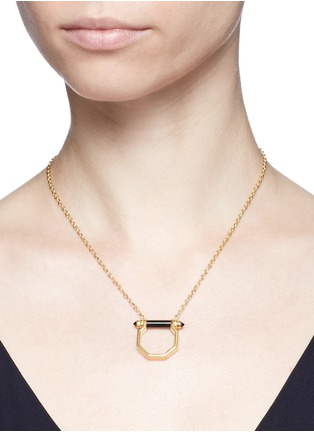 Figure View - Click To Enlarge - W. BRITT - Onyx bar octagon pendant necklace