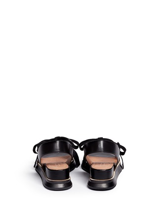 Back View - Click To Enlarge - Dries Van Noten - Lace-up leather slingback wedge platform sandals