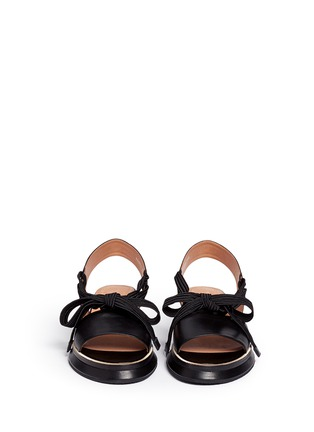 Front View - Click To Enlarge - Dries Van Noten - Lace-up leather slingback wedge platform sandals