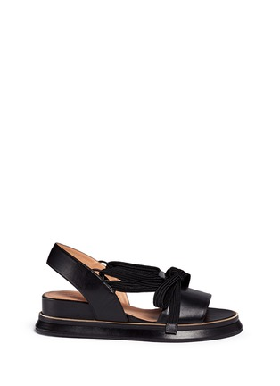Main View - Click To Enlarge - Dries Van Noten - Lace-up leather slingback wedge platform sandals