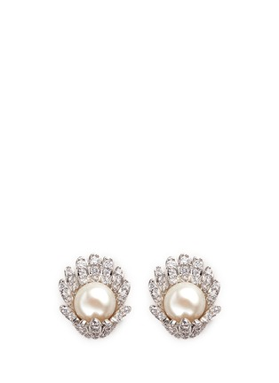 Main View - Click To Enlarge - CZ by Kenneth Jay Lane - Faux pearl cubic zirconia pavé flower clip earrings