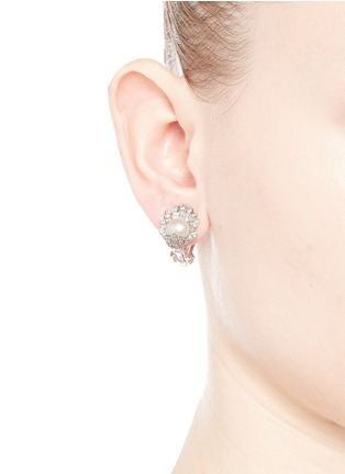 Figure View - Click To Enlarge - CZ by Kenneth Jay Lane - Faux pearl cubic zirconia pavé flower clip earrings