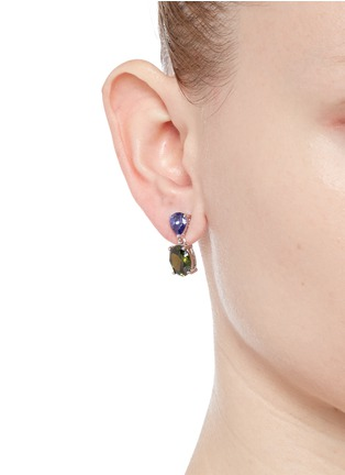 Figure View - Click To Enlarge - CZ by Kenneth Jay Lane - Contrast cubic zirconia stud earrings