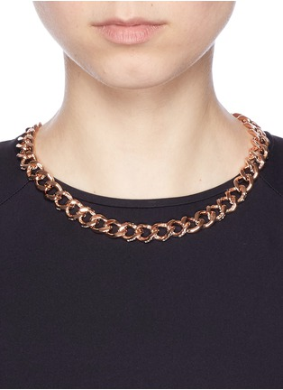 Figure View - Click To Enlarge - CZ by Kenneth Jay Lane - Cubic zirconia pavé curb chain necklace