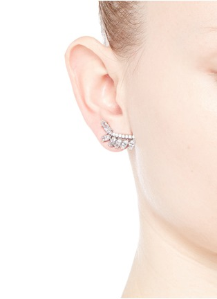 Figure View - Click To Enlarge - CZ by Kenneth Jay Lane - Cubic zirconia leaf climber earrings