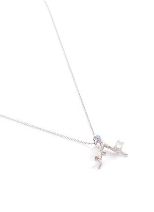 Figure View - Click To Enlarge - Heting - 'Dewdrop' diamond jade sapphire rhodium 18k white gold pendant necklace