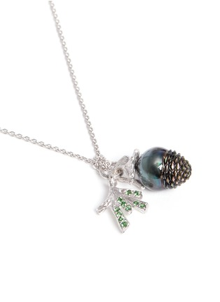 Figure View - Click To Enlarge - HETING - 'Pinecone' tsavorite pearl pendant 18k white gold necklace