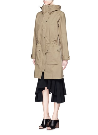 Front View - Click To Enlarge - Givenchy - Side zip cotton-blend drawstring parka