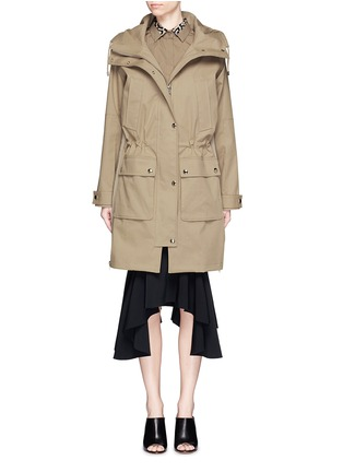 Main View - Click To Enlarge - Givenchy - Side zip cotton-blend drawstring parka