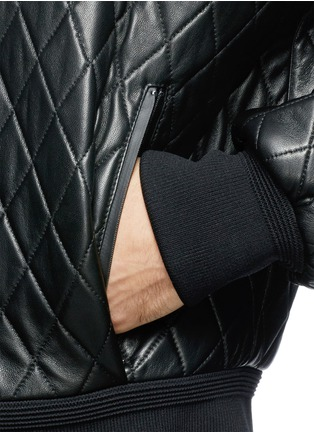 Detail View - Click To Enlarge - NEIL BARRETT - Thunderbolt quilted leather bomber jacket