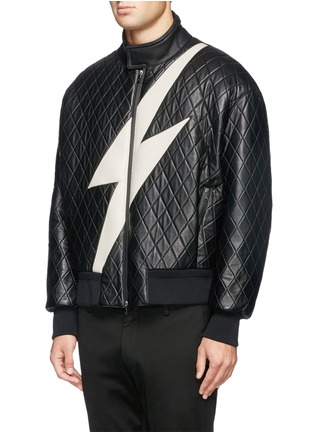Front View - Click To Enlarge - NEIL BARRETT - Thunderbolt quilted leather bomber jacket