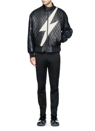 Figure View - Click To Enlarge - NEIL BARRETT - Thunderbolt quilted leather bomber jacket