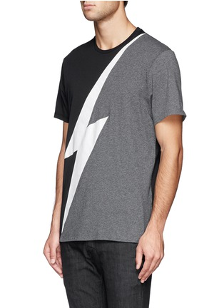 Front View - Click To Enlarge - NEIL BARRETT - Thunderbolt print T-shirt