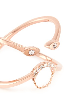 Detail View - Click To Enlarge - Ruifier - 'Eve' diamond white sapphire 9k rose gold ring