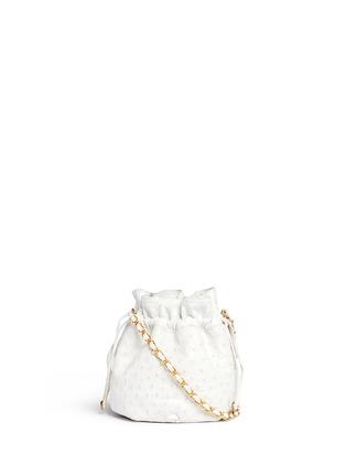 0ab1bb0de737 VINTAGE CHANEL. Ostrich leather drawstring bucket bag