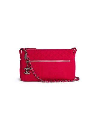 Main View - Click To Enlarge - Vintage Chanel - Embossed quilted cotton zip bag