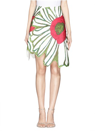 Main View - Click To Enlarge - Chictopia - Illustrated flower patchwork skirt