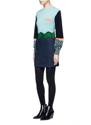 Figure View - Click To Enlarge - TOGA ARCHIVES - Colourblock geometric intarsia wool blend sweater