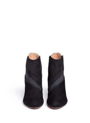Front View - Click To Enlarge - Alaïa - Wavy side gores suede ankle boots