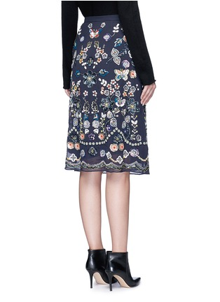 Back View - Click To Enlarge - Needle & Thread - 'Butterfly Garden' embellished georgette skirt