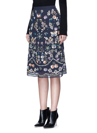 Front View - Click To Enlarge - Needle & Thread - 'Butterfly Garden' embellished georgette skirt