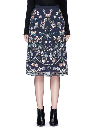 Main View - Click To Enlarge - Needle & Thread - 'Butterfly Garden' embellished georgette skirt