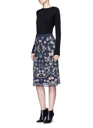 Figure View - Click To Enlarge - Needle & Thread - 'Butterfly Garden' embellished georgette skirt