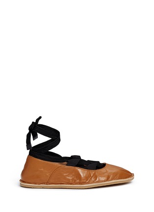 Main View - Click To Enlarge - Dries Van Noten - Lace-up leather ballerina flats