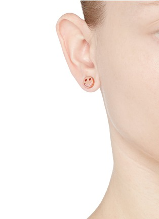 Figure View - Click To Enlarge - Ruifier - 'Smitten' 18k rose gold cord stud earrings