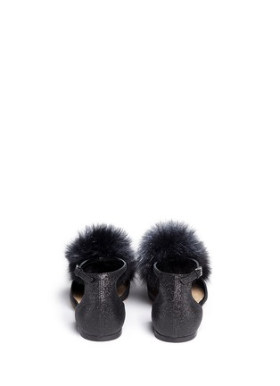 Back View - Click To Enlarge - Jimmy Choo - 'Dolly' fox fur pompom glitter skimmer flats