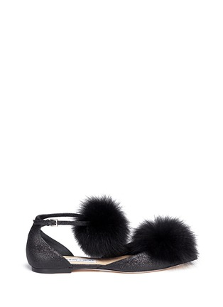 Main View - Click To Enlarge - Jimmy Choo - 'Dolly' fox fur pompom glitter skimmer flats
