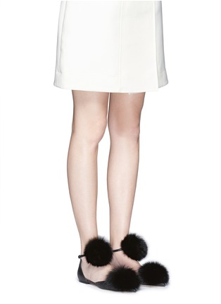 Figure View - Click To Enlarge - Jimmy Choo - 'Dolly' fox fur pompom glitter skimmer flats